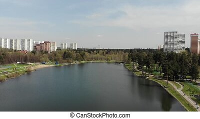 Top view on school lake in Zelenograd administrative district of Moscow, Russia