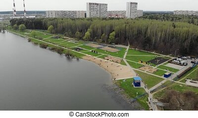 Top view on school lake in Zelenograd administrative...
