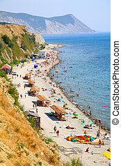 Top view on sea beach. Anapa. Russia.