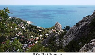 Top view on Simeiz and a Diva rock, Crimea - Top view on...