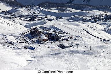 Top view on ski resort. Caucasus Mountains, Georgia, Gudauri.