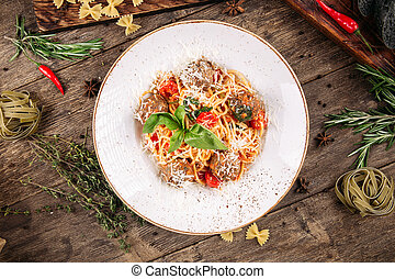 Top view on spaghetti pasta with meatballs
