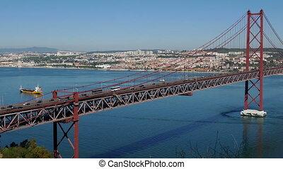 Top View on the 25 de Abril Bridge in Lisbon