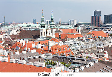 top view on the historical center of Bratislava, Slovakia