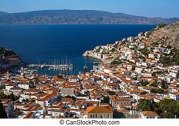 Top view on the yacht Marina of the Hydra island