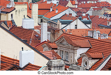 top view on tile red roofs, Prague