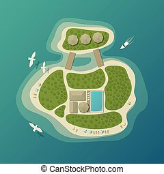 Top view on tropical island or isle with umbrella on sand beach and bungalow with pool, forest or wood, boat or yacht, ship. Can be used for vacation logo or travel agency banner or sign,tourism badge