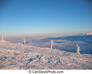Top view over cloud cover in the mountains. Icy fence posts on the hillside. In the Carpathians in Ukraine.