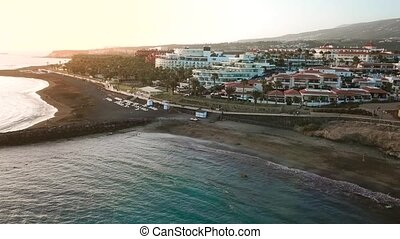 Top view over Los Cristianos at sunset, Canary Islands,...