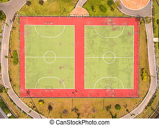 Top view over outdoor sports court, Shot from drone