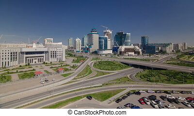 Top view over the city center and central business district  Timelapse, Kazakhstan, Astana