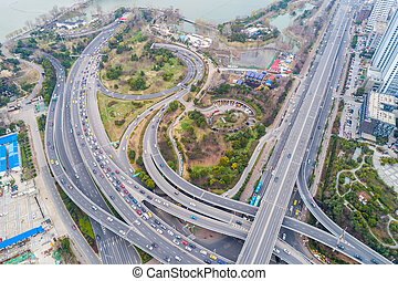 Top view over the highway, expressway and motorway