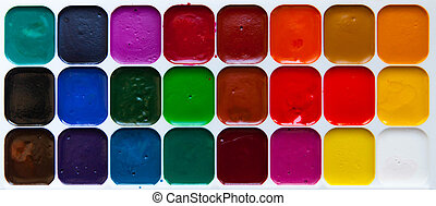 Top view palette of watercolor paints in box isolated on white background, close up.