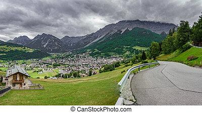Bormio city and Dolomites