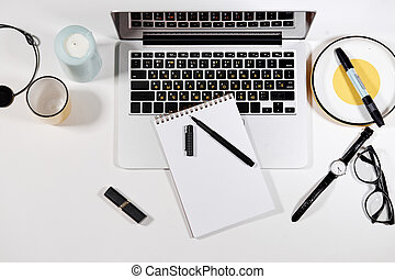 top view photo of a writting desk
