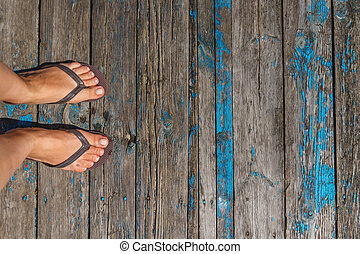 3ccb4bd8611a Feet standing in flip flops Stock Photo Images. 35 Feet standing in ...