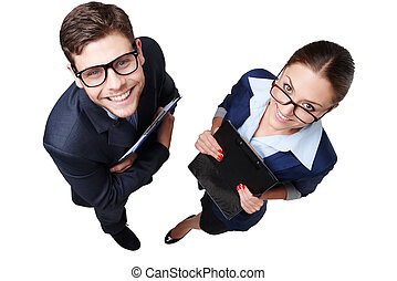 Top view photo of smiling business man and woman