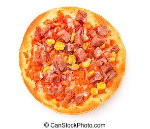 top view pizza on white background