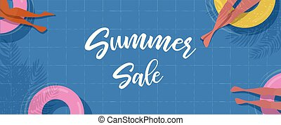 Top view Pool background. people relaxing in the pool. Summer water activities. summer sale banner. Vector poster illustration design