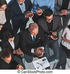 top view. portrait of a business team in the workplace.