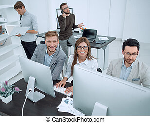 top view. professional business team sitting at the Desk