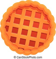 Top view red apple pie icon, cartoon style