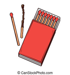 Top view red matchbox isolated on a white background. Color...