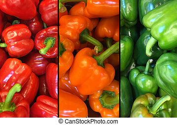 Top view red, yellow and green bell peppers in a pile