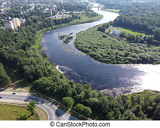 top view, river flows, aerial photography. High quality ...