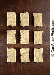 top view rows of shredded wheat cereal