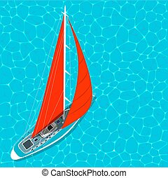Top view sail boat on water poster