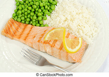top view salmon with lemon