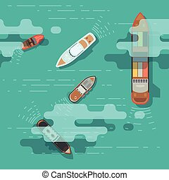 Top view sea ship and shipping boat on ocean water surface...