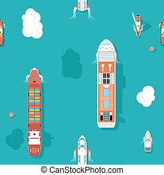Top view sea ships seamless background. Water and yacht, boat and transport, cruise travel. Vector illustration