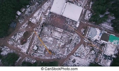 Top view see the construction site of Reinforced concrete...
