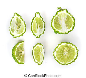 Top view set of Bergamot fruit on white background.