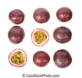 Top view set of Passion fruit isolated on white background