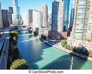 Top view skyline and office buildings along Chicago river
