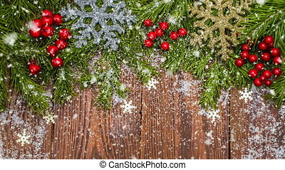 Top view, snow falls on the Christmas table, conceptual...