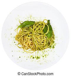 top view spaghetti mixed with pesto