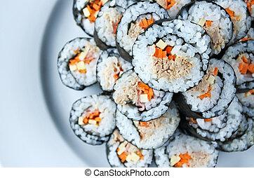 Top view stack of sushi maki gunkan roll plate - Top view of...