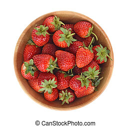 top view Strawberries in wooden bowl isolated on white background