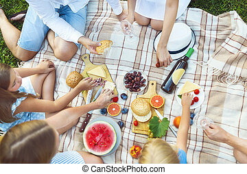 Top view summer garden picnic