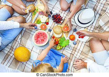 Top view summer garden picnic. Summer party