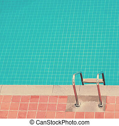 Top view swimming pool background with retro filter tone