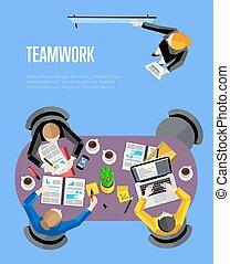 Top view teamwork business banner.