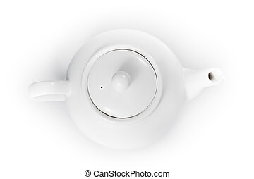 top view teapot isolated on a white background