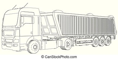 Top view. Tipper lorry on transparent background, logistics transportation and cargo freight transport industrial business commercial concept wire-frame. Created illustration of 3d.