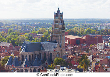 Top view to Bruges and the cathedral St. Sauveur, the oldest...