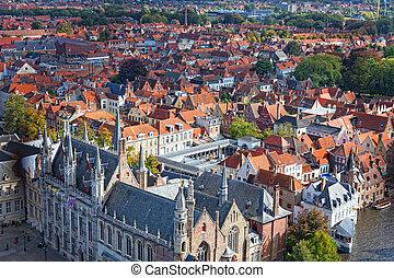 top view to Bruges, Belgium